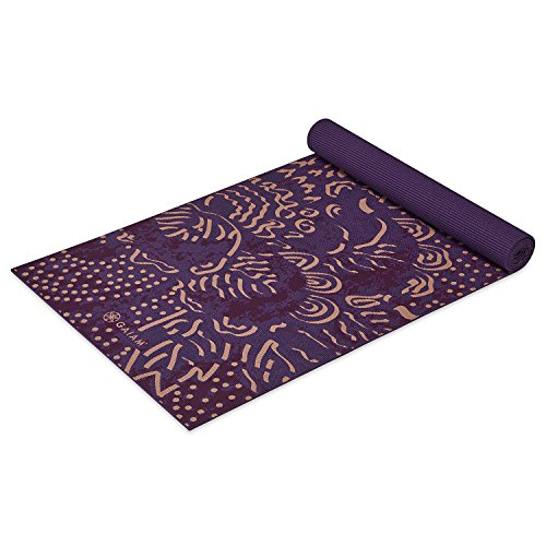 Gaiam Print Yoga Mat, Mulberry Cluster, 4mm