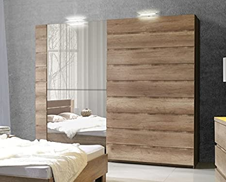 Marca nilight dormitorio puerta corredera espejo armario con LEDs Miro 200 cm en Canyon roble se vende por Arthauss: Amazon.es: Hogar