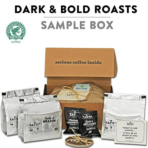 Tayst Dark Roast Coffee Pods | 30 ct. Bold Sample Box | 100% Compostable Keurig K-Cup compatible | Gourmet Coffee in Earth Friendly packaging