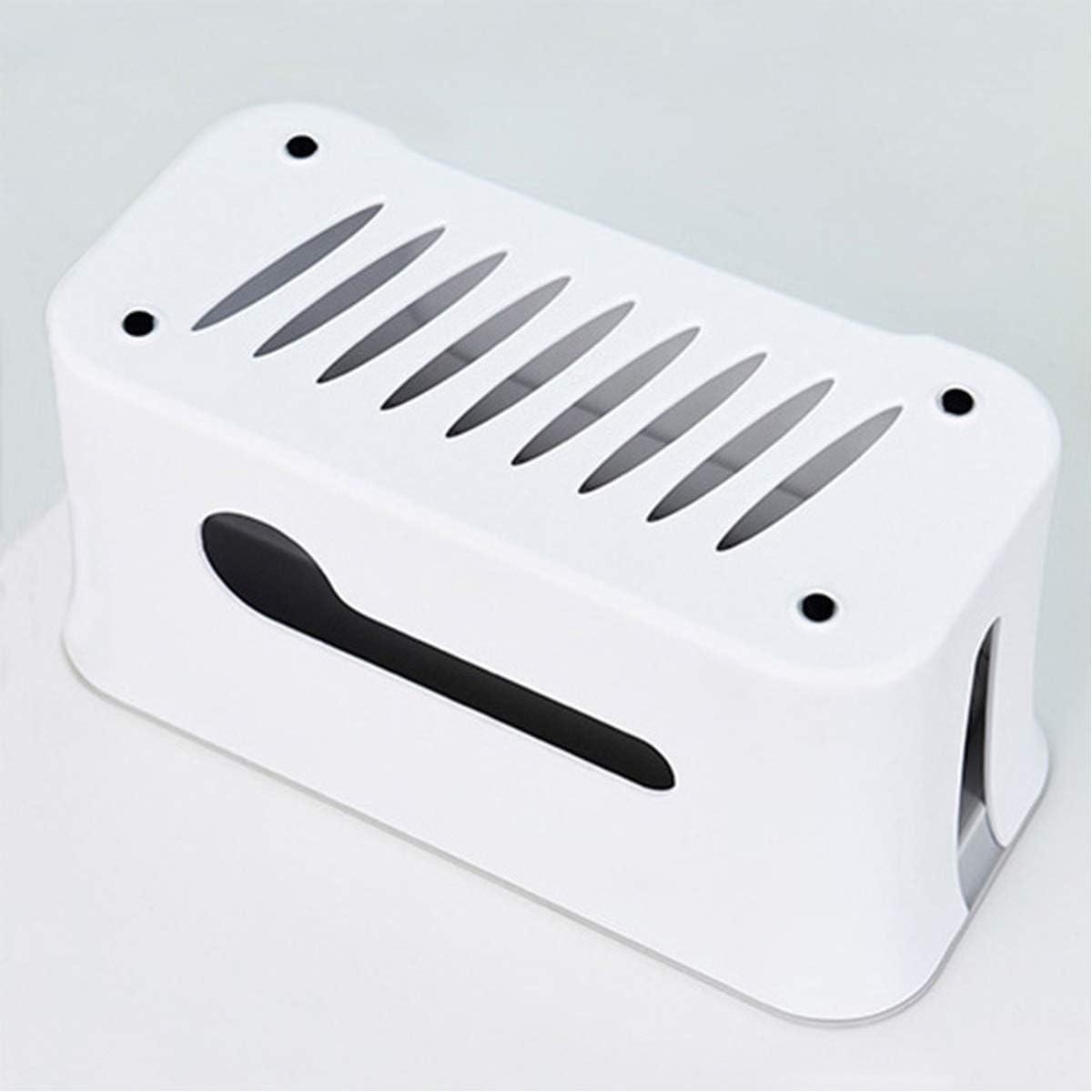 Tianhaik Scatola di Gestione dei Cavi Copertura della Striscia di Alimentazione con Supporto per Telefono Nascondi Organizer per Cavi per Desktop di casa Color : White