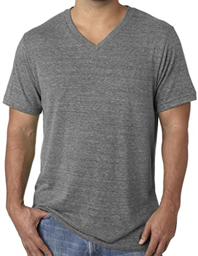 Mens Tri Blend V-neck Tee Shirt, XL Grey Triblend