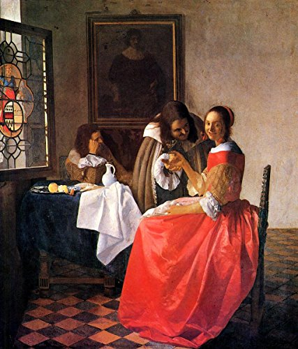 (Quality Prints - Laminated 24x28 Vibrant Durable Photo Poster - Jan Vermeer - The Girl with The Wine Glass)