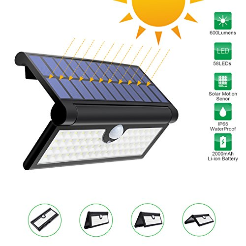 Outdoor Solar Light,GLIME Foldable Motion Sensor Wall Lights Super Bright 3W 58LED Waterproof Security Wireless Portable Garden Light for Camping Yard Wall Porch Patio Driveway, Garage Solar Lamp