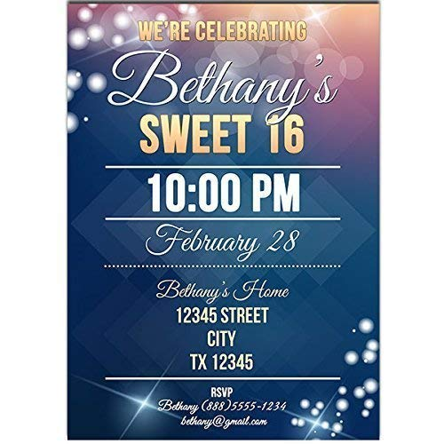 Blue Sparkly Sweet Sixteen 16 Birthday Party Invitations