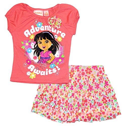 Dora the Explorer Baby Toddler Little Girls 2 Piece Shirt & Skirt / Skort Set (12 (Dora Short)