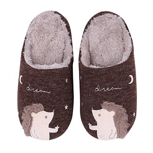 Cute Animal House Slippers Fuzzy Hedgehog Bedroom Slippers Waterproof Sole Indoor Outdoor Slippers 16C-L
