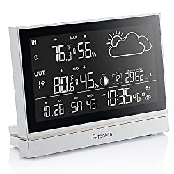 Fetanten Indoor Outdoor Thermometer, Weather Station Wireless with Temperature and Humidity Monitor, Hygrometer, Barometer, Alarm Clock, Outdoor clock with Moonpahse/Forecast/7.5 Large LCD display