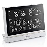Fetanten Indoor Outdoor Thermometer, Weather Station Wireless with Temperature and Humidity Monitor, Hygrometer, Barometer, Alarm Clock, Outdoor clock with Moonpahse/Forecast / 7.5'' Large LCD display