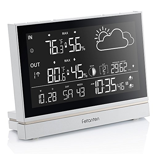 Humidity Barometer - Fetanten Indoor Outdoor Thermometer, Weather Station Wireless with Temperature and Humidity Monitor, Hygrometer, Barometer, Alarm Clock, Outdoor clock with Moonpahse/Forecast/7.5
