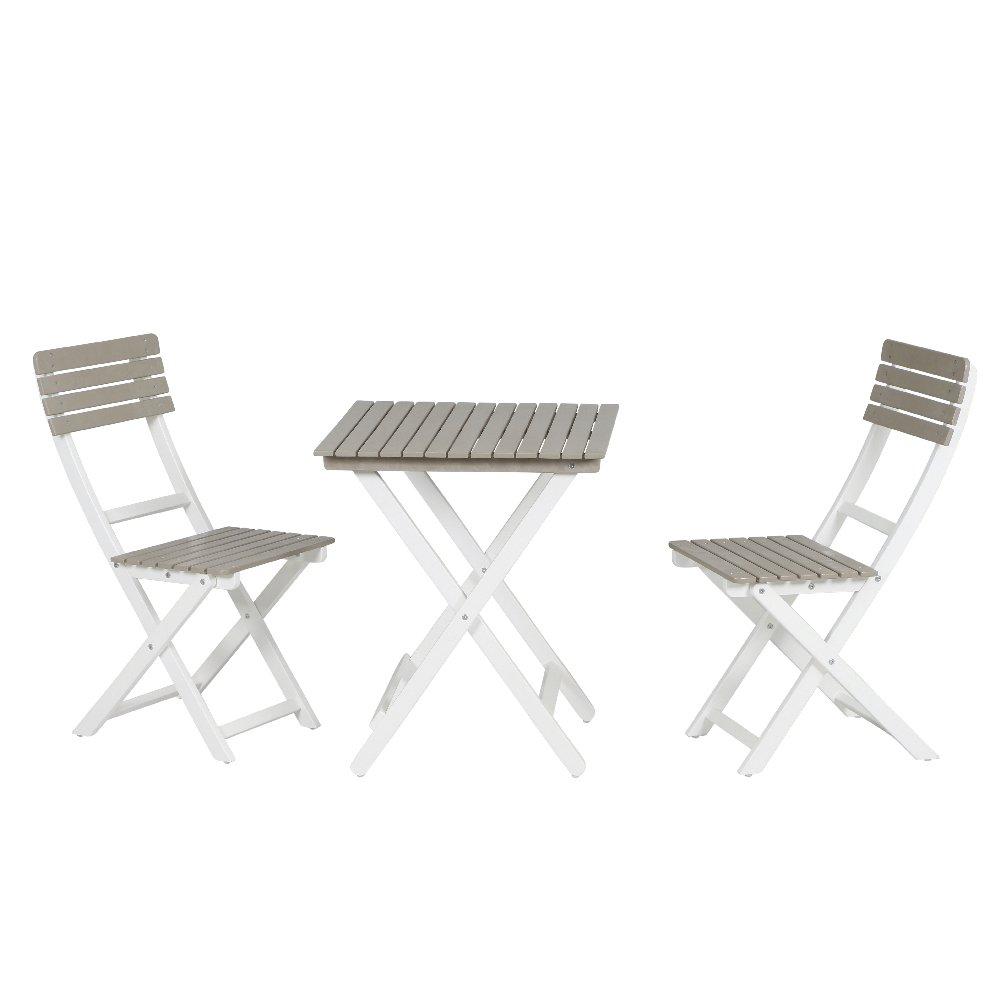 Siena Mybalconia 254825 Balkonset Capri, 3tlg. 2xStuhl, 1xTisch 60x60cm Gestell Akazie FSC® 100% weiß lackiert Flächen Akazie FSC® 100% taupe lackiert