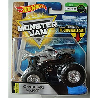 Hot Wheels Monster Jam 2020 Creatures Cyborg Shark (with Re-Crushable Car) 1:64 Scale: Toys & Games