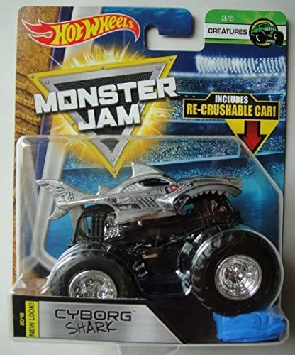 Amazon Com Hot Wheels Monster Jam 2018 Creatures Cyborg Shark With Re Crushable Car 1 64 Scale Toys Games