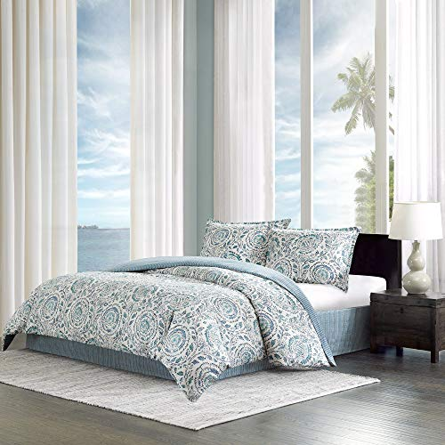 Echo Design Kamala King Size Bed Comforter Set - Blue, White, Floral Medallion  4 Pieces Bedding Sets  100% Cotton Sateen Bedroom Comforters