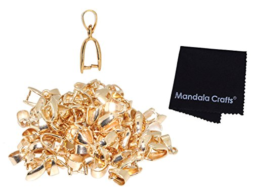 Mandala Crafts Metal Pinch Bail, Pendant Connector, Dangle Charm Clasp Clip for Jewelry Making; 50 PCs Finding Kit (Gold Tone, 7 X 20mm)