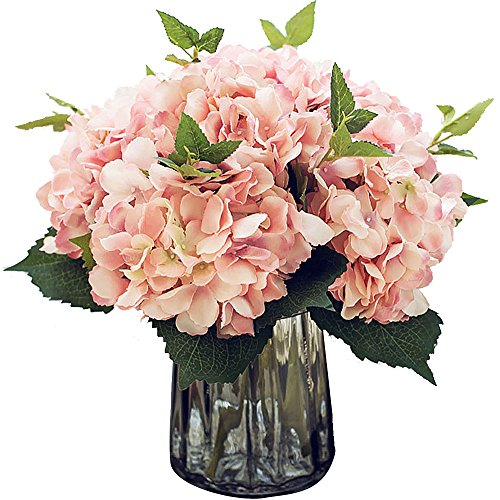 Felice Arts Artificial Silk Flowers California Fake Beautiful Hydrangea Bunch Bouquet Flower for Home Wedding Decor Pack of 3, Pink