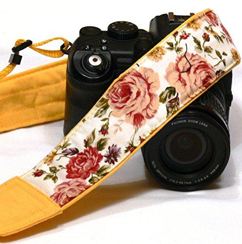 Roses Camera Strap. DSLR Camera Strap. Canon Nikon Camera Strap. Yellow camera strap. Camera Accessories; 127