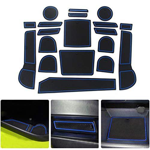 for Subaru XV 15-17 Custom Gate Slot Pad Cup Holder Pads Door Groove Mat Center Organizer Storage Box Non-Slip Silica Liner 19Pcs Bule ()