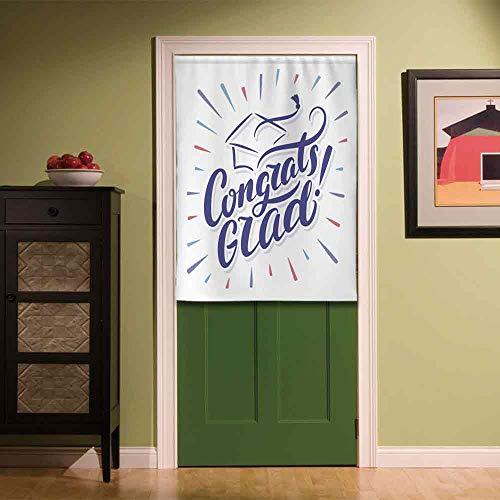 - YOLIYANA Graduation Decor Fabric Art Door Curtain,Vintage Hand Writing Cap with Tassel Honoring Phrase University Bachelor Decorative for Locker Room Store Privacy Space,33.46''W x 47.24''H