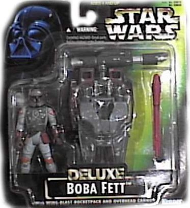 - Star Wars Year 1996 Deluxe Series 4 Inch Tall Action Figure Vehicle Playset - Boba Fett with Wing-Blast Rocketpack, Overhead Cannon and 1 Missile