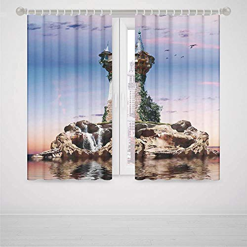 Lattice Blackout Curtains Fantasy House Decor Fictional Wizards Tower Sitting on Rock Island Home of Magician Supernatural Theme High-Precision Blackout CurtainBlue (Homestyles Black Kitchen Island)