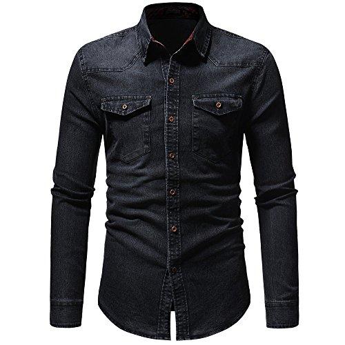 UONQD Men's Autumn Winter Vintage Distressed Solid Denim T-Shirt Top Blouse (Medium,Black)