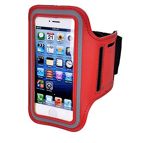 Armband For iPhone 8/8plus/7/6/6S Plus,Galaxy s8 s7 s6 Edge s8+,Note 5.etc.CaseHQ Adjustable Reflective Velcro Sport Exercise Running Pouch Key Holder,Screen Protector-Hiking,Biking,Walking(red)