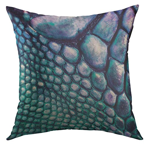 Mugod Pillow Cover Colorful Tribal Blue Green Faux Lizard Leather Fabrics Home Decorative Square Throw Pillow Cushion Cover 16x16 Inch (Lizard Print Faux Leather)
