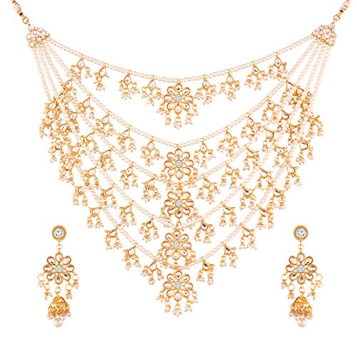 I Jewels Exklusive Choker Style Pearl Gold Plated Multi Strand Rani Haar for Women (M4080W)