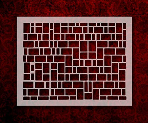 "Square brick stone rectangle pattern 8.5"" x 11"" Stencil FAST FREE SHIPPING (589)"