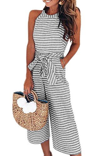 PRETTYGARDEN 2018 Women's Striped Sleeveless Waist Belted Zipper Back Wide Leg Loose Jumpsuit Romper with Pockets (Grey, Large) (My Wife Doesn T Want To Make Love)