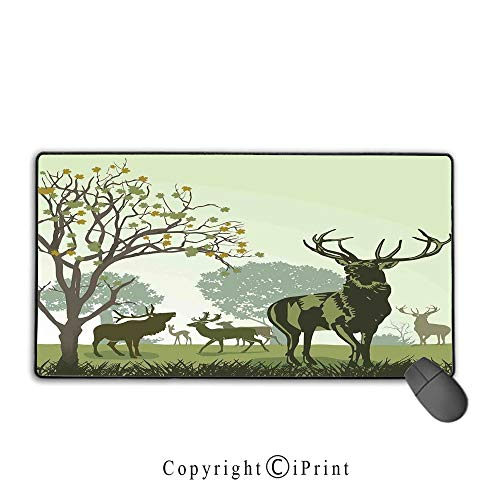 Extended Gaming Mouse pad with Stitched Edges,Antlers Decor,Deer and Wildlife in Park World Natural Heritage Forest Areas Reindeer,Premium Textured Fabric, Non-Slip Rubber Base,9.8