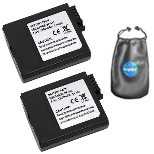 amsahr ValuePack (2 Count): Digital Replacement Camera and Camcorder Battery for Canon BP-406, BP-407, BP-412, MVX10i, IXY DV, IXY DV 2, DM-MV3, DM-MV3i - Includes Lens Accessories Pouch - Bp 412 Replacement Battery