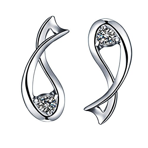 Acxico 925 Sterling Silver with Zircon Inlaid the Zodiac Guardian Constellation Stud Earrings (Pisces) - Zircon Earrings