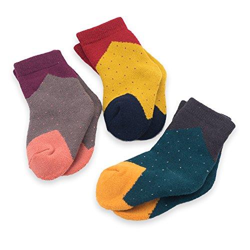 CoCoCute Baby Socks -3 Pairs Thick Winter Toddler Socks Baby Boy and Girl Socks Infant Socks Kid Socks Warm Cotton Crew Socks (S(1-3Y), Geometry)
