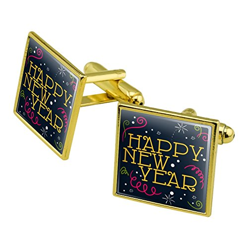Happy New Year Square Cufflink Set Gold Color