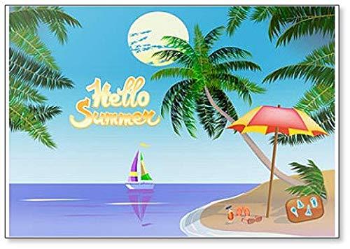 Palm Tree Refrigerator Magnet - Hello Summer Vacation On the Ocean, Among Palm Trees. Travel Illustration Fridge Magnet
