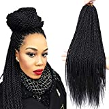 Senegalese Twist Crochet Braids 4 Colors Avaliable for Women Low Temperature Fiber Synthetic Braiding Hair Extensions 8Packs 35Stands/Pack (22 Inch, 1B)