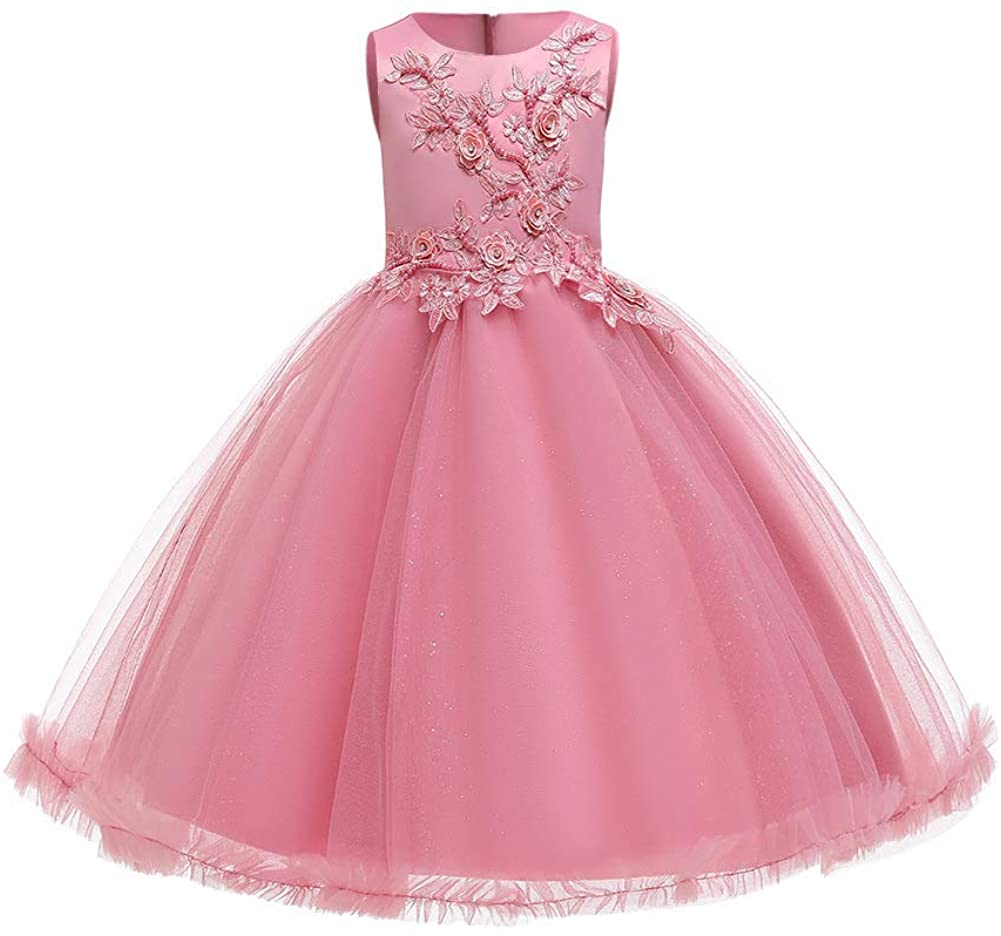 Big Girl Flower Lace Princess Tulle Long Dress for Kids Prom Formal Pageant  Dance Gown