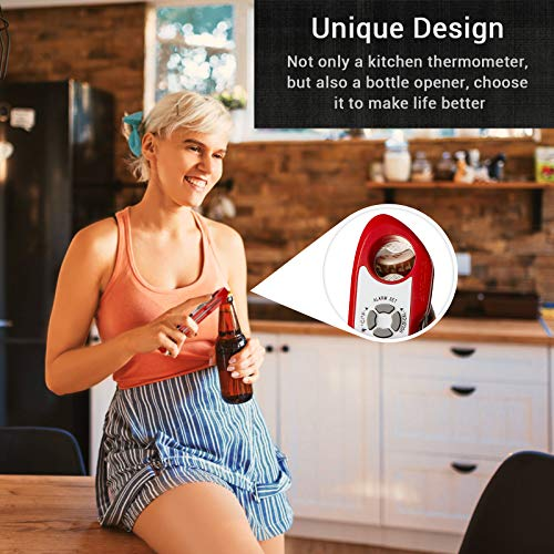 Bosszi Meat Thermometer New Upgraded 2 in 1, Digital Food Thermometer with Alarm, Display and Corkscrew Function, Waterproof Food Thermometer for Grilling,Turkey, BBQ, Baking, Liquids, Candy