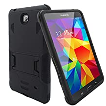 """Bvgande Samsung Galaxy Tab 4 8"""" 8.0 8-inches Tablet Case Built-in Kickstand Cover - [Todt Series] [Full-body Tough Rugged Hybrid Drop Proof Protective Case], Dual Layer Design/Impact Resistant Bumper Prime (Black/Black)"""