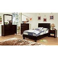 Bermondsey Leatherette Platform Twin, 1 Nightstand, Dresser, Mirror - Espresso
