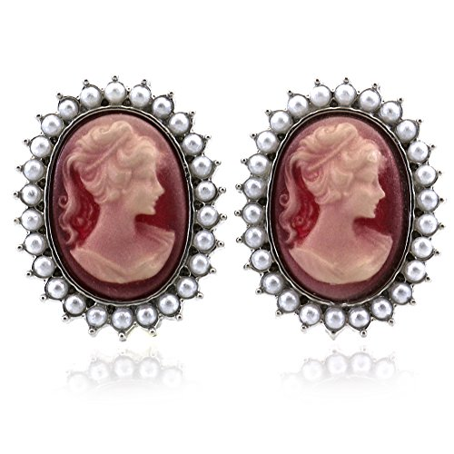 (SoulBreezeCollection Cameo Earrings Stud Post White Faux Pearl Fashion Jewelry (Pink))