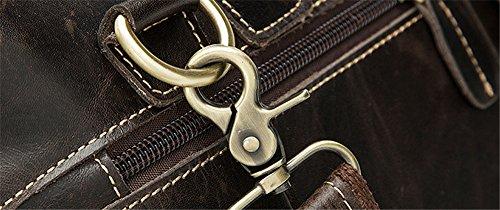 Xinmaoyuan bolsos de Hombres Hombres de cuero de vaca Retro Bolsa Bolso de Hombro Maletín portátil,café oscuro Café oscuro