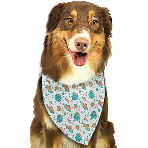 Dog Bandana Underwater Flounder and Trout Naive Lino Style Algae Underwater Marine Ocean Sea Pattern W27.5 xL12 Scarf for Small and Medium Dogs and Cats