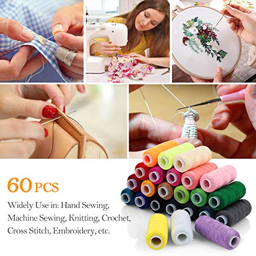 Sewing Thread Polyester Thread Kit 60 Colors Each 250 Yards Length Spool with 2 Needle Threaders and 16 Needles for Sewing and Manual Machines