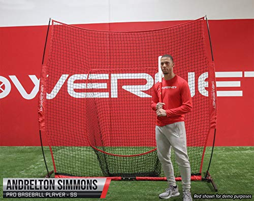 PowerNet 8×8 XLP PRO Net with One Piece Frame Huge Baseball Softball Hitting Pitching Area Great for Teams Batting Fielding Portable Backstop Non-Tip Weighted Base 8 x 8 64SqFt EZ Setup