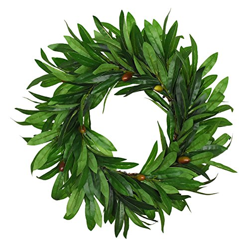 Sunm boutique Artificial Olive Wreath Natural Vines Green Leaves for Front Door Indoor or Outdoor Wall Wedding Home Decoration