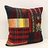 Patchwork kilim pillow cover 18x18 inch (45x45 cm) Handmade Kilim pillow cover Home decor Turkish pillow Accent Hand woven Cushion Cover Throw pillow