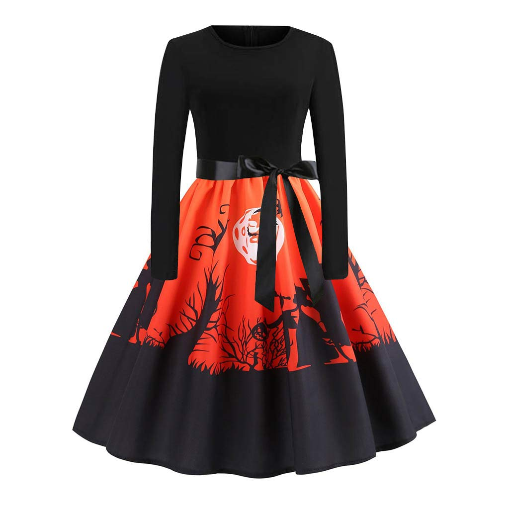 Prom Dresses for Women,Women Long Sleeve Halloween Musical Notes Print Vintage Flare Dress Red by WENOVL