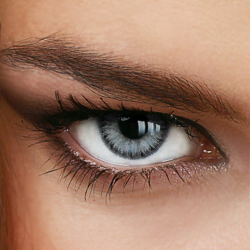 Farbige Jahres-Kontaktlinsen DIAMOND Light Gray - OHNE Stärke in Strong GRAU - von LUXDELUX® - ohne Stärke (+/- 0.00 DPT)